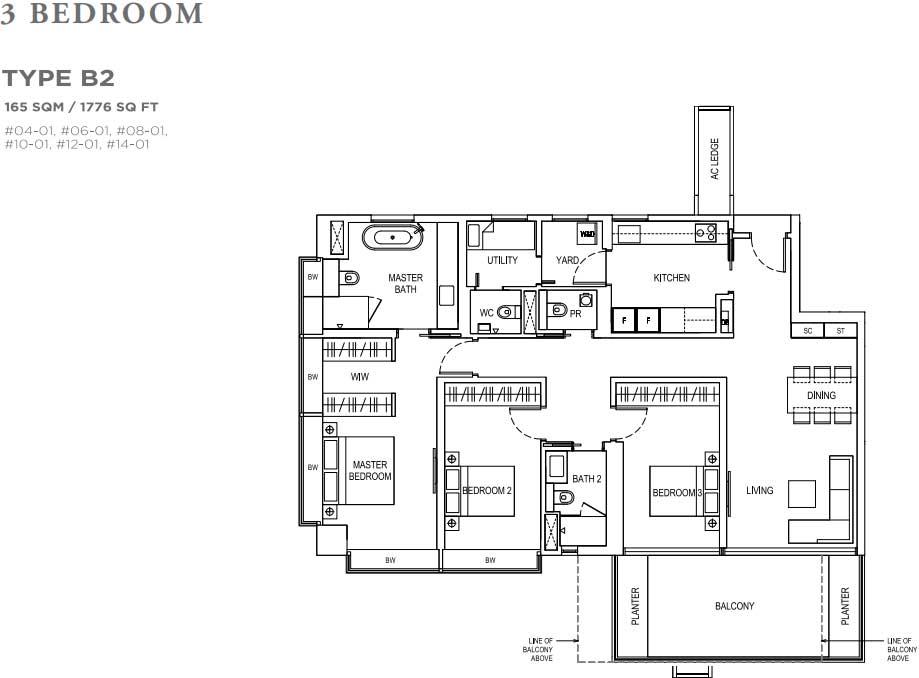 Boulevard 88 Floor plan 3 Bedroom