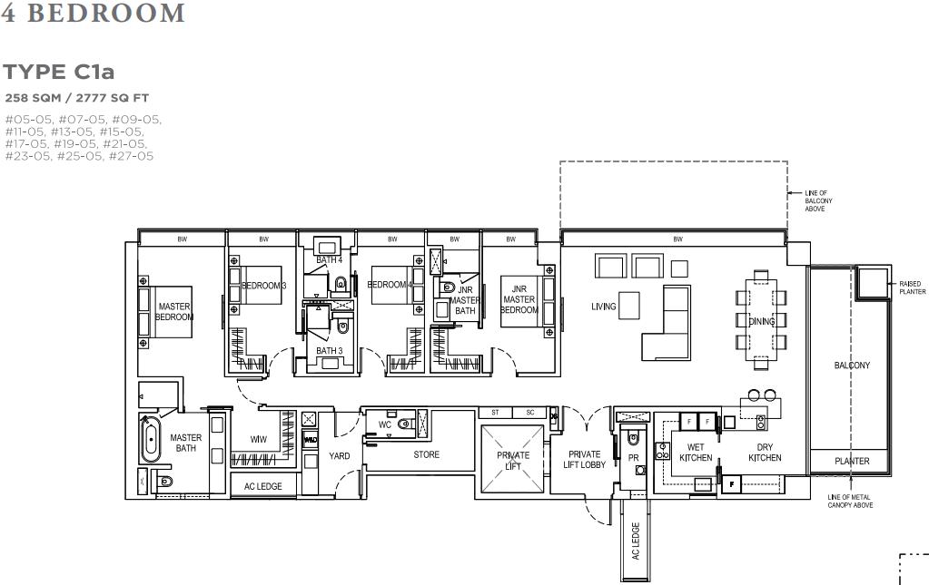 Boulevard 88 Floor plan 4 bedroom